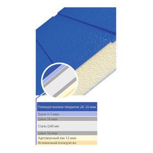 Сэндвич-панель Алютех покрывается полиуретаном 20-25 мкм, грунтом 5-7 мкм, цинком 16 мкм. Толщина стали 0,40 мм. Внутренне покрытие ― Цинк 16 мкм, Адгезионный лак 12 мкм. Середина панели заполнена вспененным полиуретаном