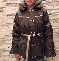Куртка демисезонная с капюшоном для девочек Шоколад