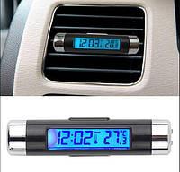 Термометр с часами автомобильный, показывает температуру в салоне авто и время, крепится на обдув