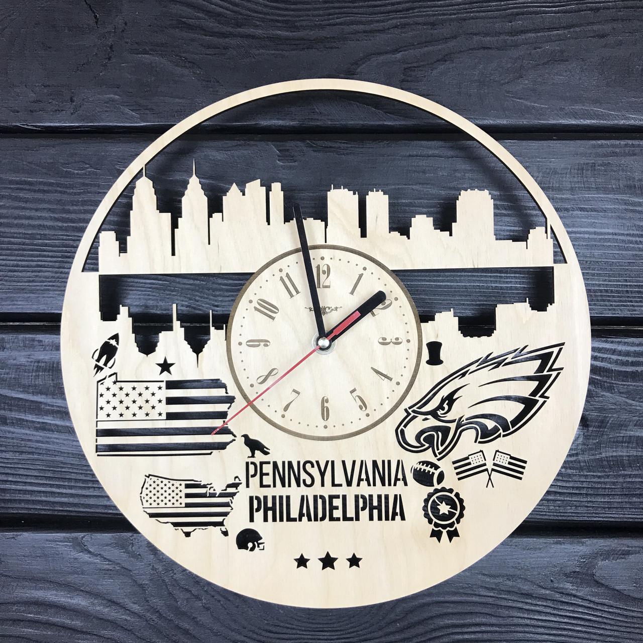 Дизайнерские часы на стену «Филадельфия, Пенсильвания»