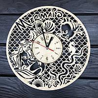 Детские часы на стену из дерева «Русалочка»
