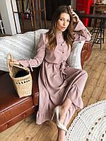 Женское стильное длинное платье в мелкий горошек