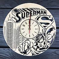 Стильные настенные деревянные часы «Супермен», фото 1