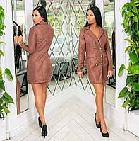 """Женское стильное короткое платье до больших размеров 918 """"Вельвет Пиджак Пуговицы"""" в расцветках."""