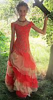 Изящное красно-желтое платье на девочку на прокат, фото 1