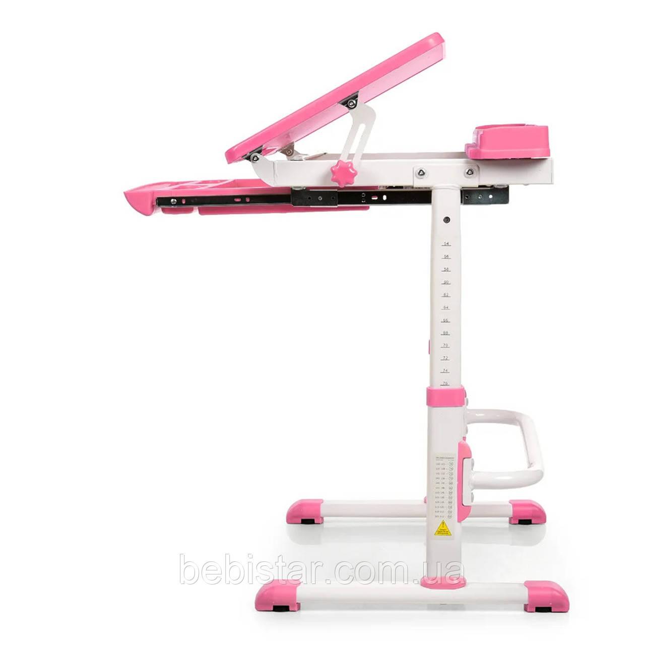 """Детская парта растишка """"Bambi"""" розового цвета трансформер девочке от 3 лет столешница 70 х 38 см - фото 3"""