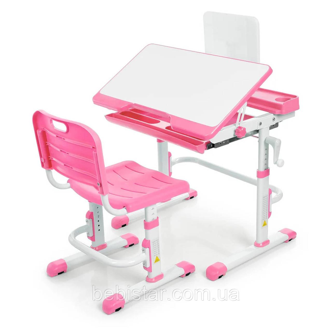"""Детская парта растишка """"Bambi"""" розового цвета трансформер девочке от 3 лет столешница 70 х 38 см - фото 4"""