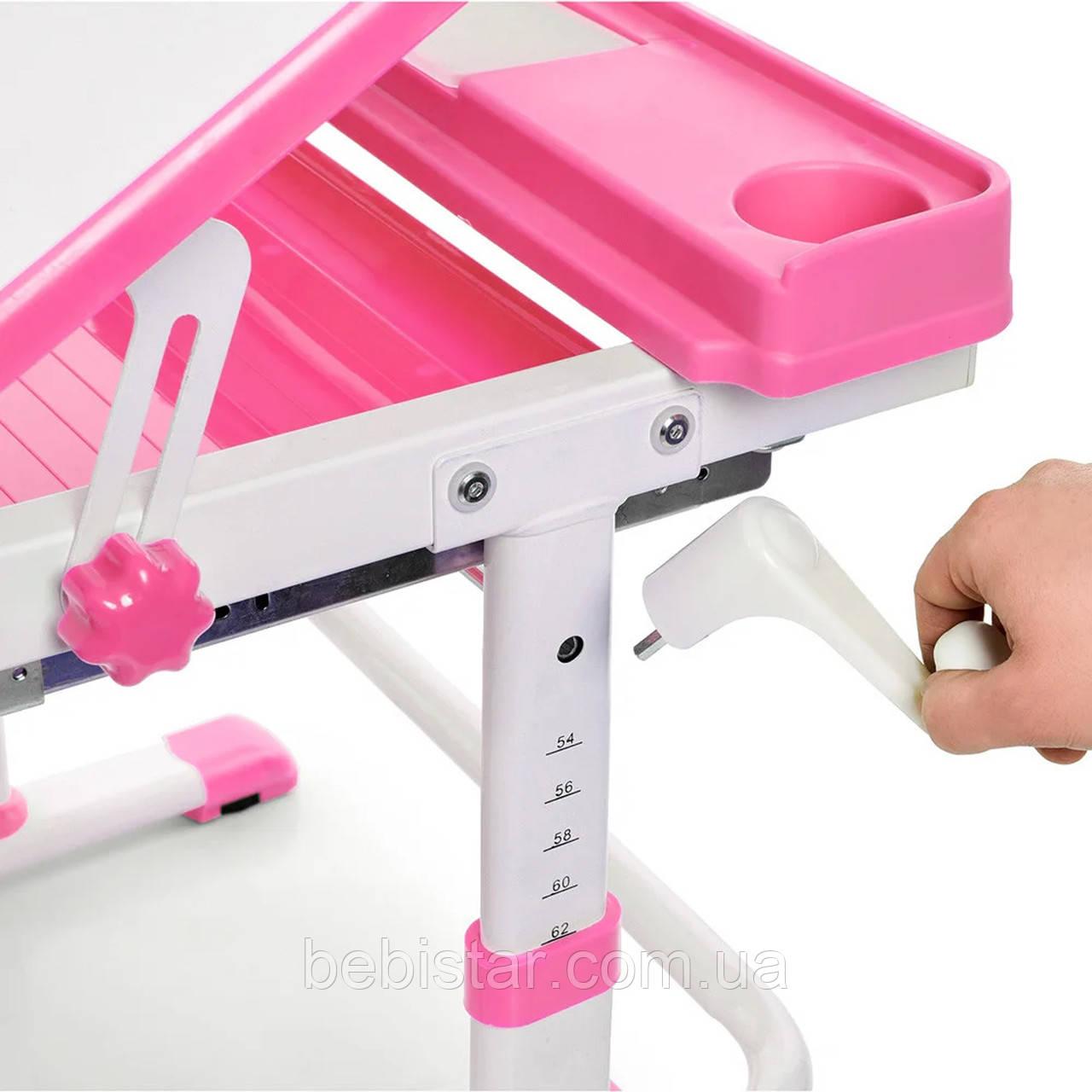 """Детская парта растишка """"Bambi"""" розового цвета трансформер девочке от 3 лет столешница 70 х 38 см - фото 7"""