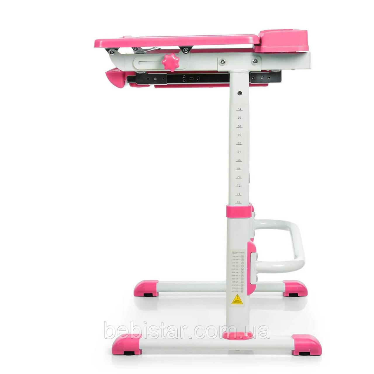 """Детская парта растишка """"Bambi"""" розового цвета трансформер девочке от 3 лет столешница 70 х 38 см - фото 9"""