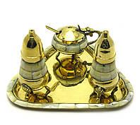 Солонка ,перечница ,горчичница бронза с перлам (н-р 3 шт)(17,5х12,5х9 см)