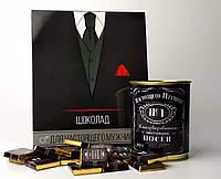 Подарок для настоящего мужчины - шоколадный набор и консервированные носки - подарок мужчине