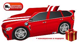 Кровать детская PREMIUM, Кровать машина с матрасом Премиум BMW красный