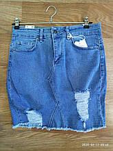 Юбка джинсовая женская стильная рванка размер 36-42 купить оптом со склада 7км Одесса