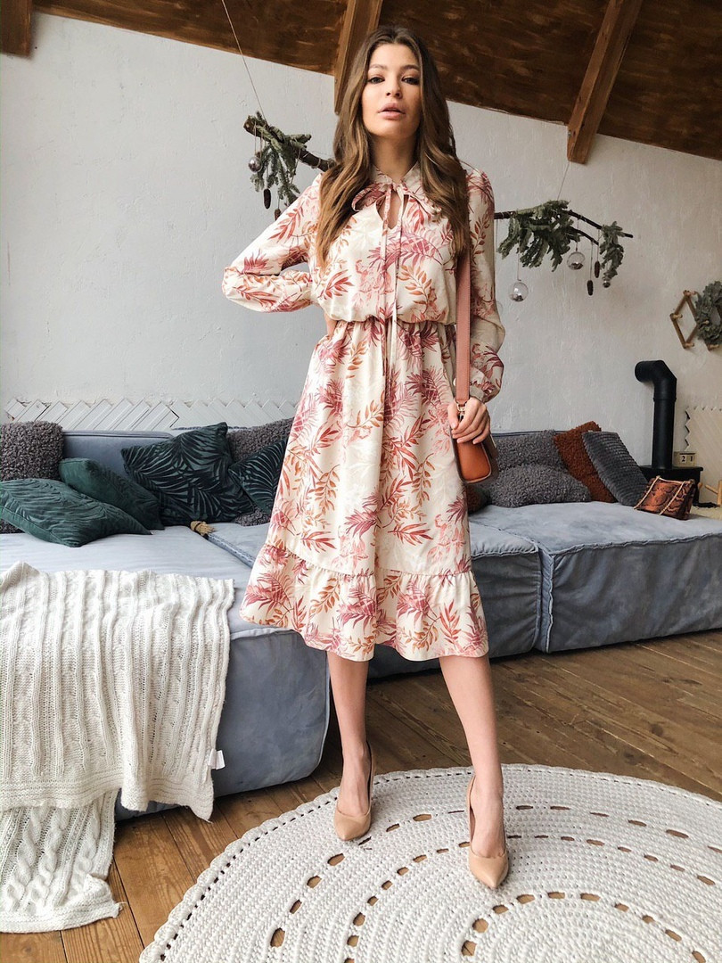 Женское  модное платье с принтом «Оливия»