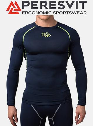Компрессионная футболка Peresvit Air Motion Compression Long Sleeve T-Shirt Navy Flu Yellow, фото 2