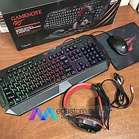 Игровой набор HAVIT GAMENOT 4в1 Клавиатура Мышка Коврик Наушники HV-KB501CM геймерский комплект с подсветкой