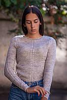 Бежевый мягкий женский свитер с тонкой пряжи и длинным рукавчиком (S/M, M/L)