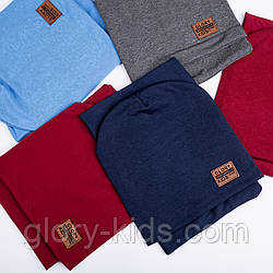 Трикотажный комплект шапка и хомут на подкладке х/б р50-52 упаковка 5 шт