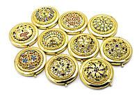 Зеркальце косметическое с каменьями золото (d-7 см)(в коробке + чехольчик)