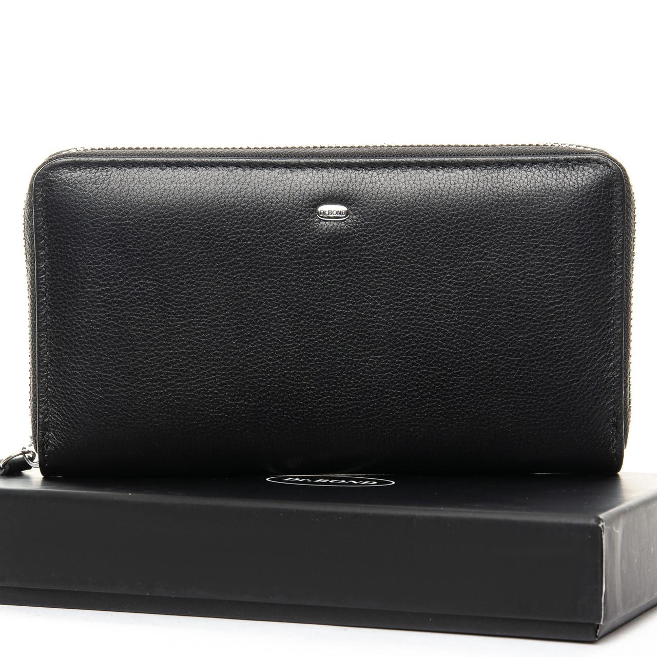 Мужской кожаный клатч кошелек портмоне на молнии dr.Bond, Натуральная Кожа