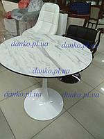 Обеденный стол Т-318 белый+ МФД мрамор D80 см от Vetro Mebel