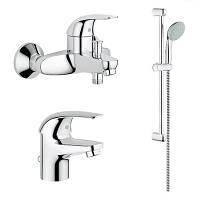 Набор смесителей для ванной комнаты GROHE EUROECO 121637 ,набор кранов акционный
