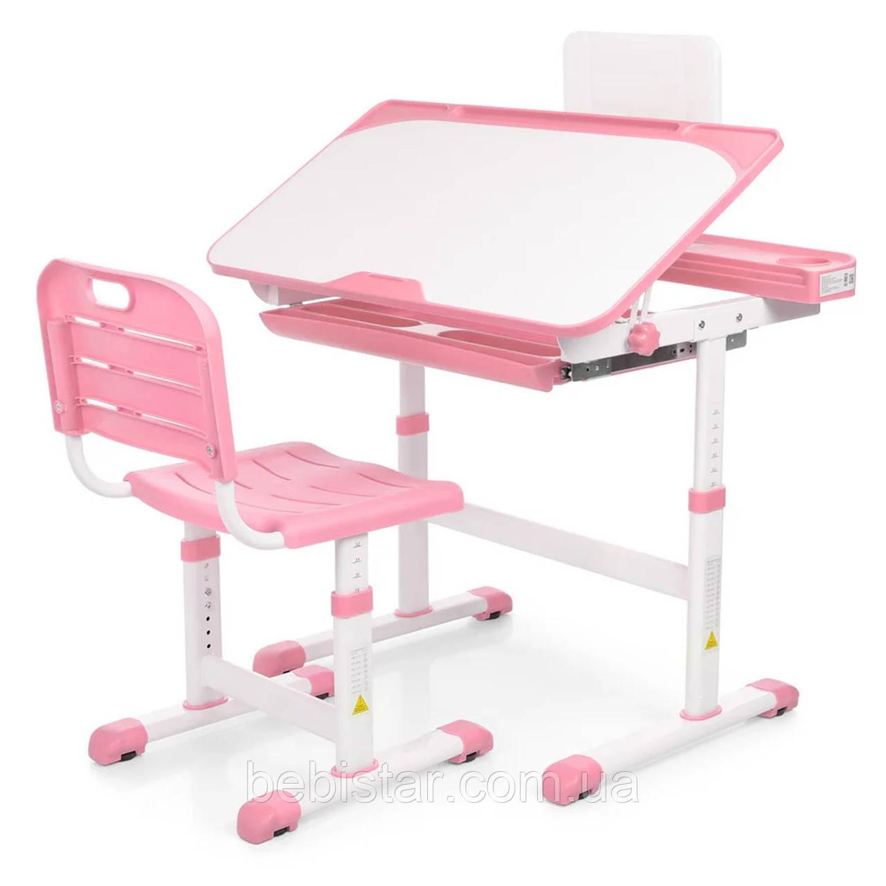 """Детская парта трансформер """"Bambi"""" для девочек от 3 до 16 лет цвет розовый столешница 80 х 45 см"""