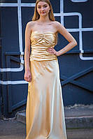 Вечернее золотое платье с открытыми плечами (M, L)