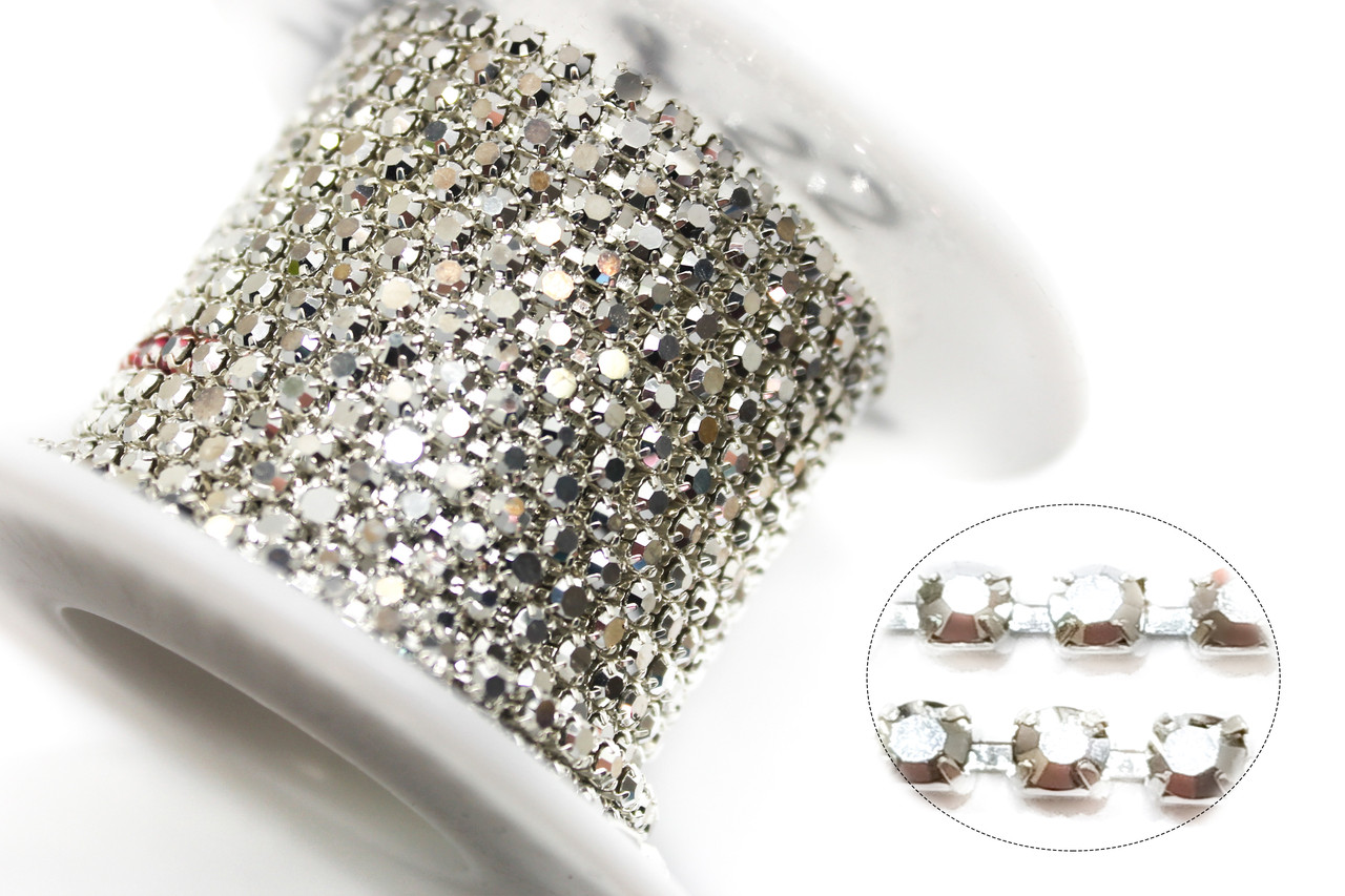 Стразовая цепь ss8(ширина 2.5мм) Argentum (серебро).Стразы стеклянные.Цена за 1м.