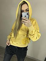 "Модное короткое худи с капюшоном и карманом ""кенгуру"" желтого цвета ""ОМ"".."
