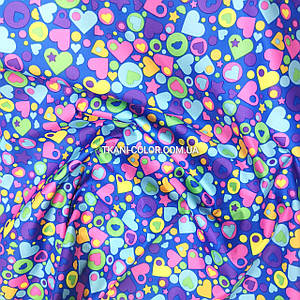 Плащевая ткань лаке принт сердечки на синем