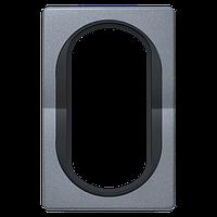 """Рамка под двойную розетку E604 Aling Conel серии EON. Цвет """"Античное серебро"""" с черной вставкой (E6805.S1E)"""