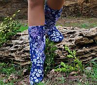 Полусапожки женские синие с цветами  . Арт-0376