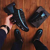Мужские кроссовки Хонг чорні з синіми вставками