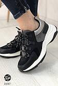 Женские кроссовки черного цвета на массивной подошве. Модель 24087. Размеры 36-40