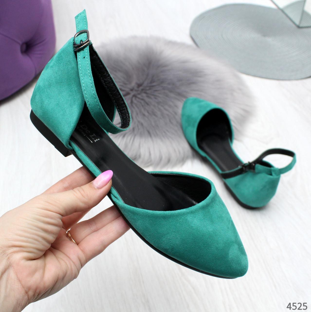 Женские бирюзовые туфли балетки на низком ходу с ремешком Jolli