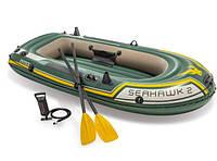 Двухместная надувная лодка Intex 68347 + насос + весла