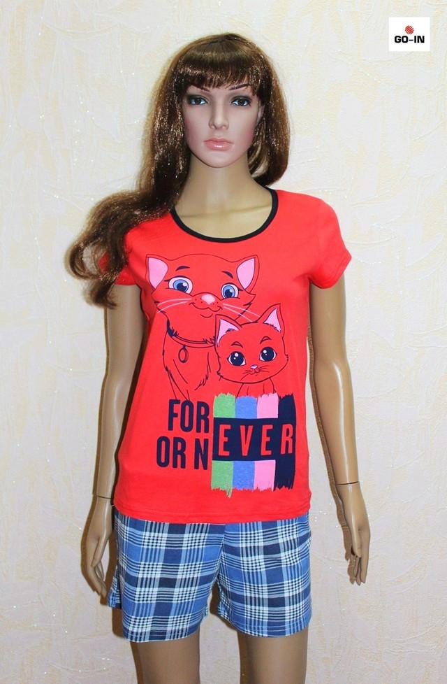 Пижама женская футболка с шортами