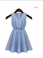 Хлопковый сарафан в полоску, голубой цвет, S