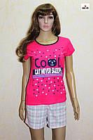 Пижама женская футболка с шортами малина трикотажная р.44-54