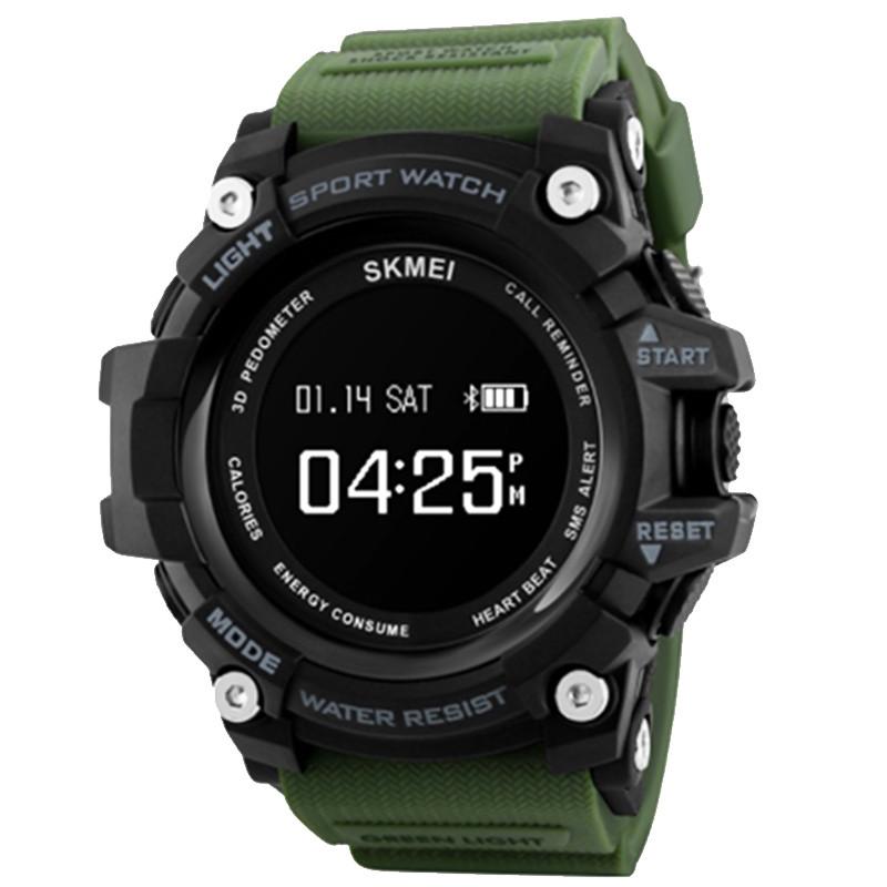 Часы, смарт-браслет Skmei 1188, черный-армейский зеленый, в металлическом боксе
