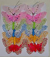 Бабочка 8 см (перья+ткань)