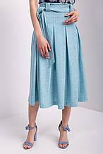 Льняная юбка миди FIFA со складками и поясом