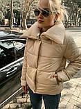 Теплая короткая женская куртка с высоким воротником (4расцв) 42,44,46р., фото 5