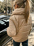 Теплая короткая женская куртка с высоким воротником (4расцв) 42,44,46р., фото 6