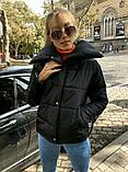 Теплая короткая женская куртка с высоким воротником (4расцв) 42,44,46р., фото 7