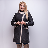 """Демисезонное пальто из тесненой плащевки с капюшоном """"Ника"""" рр 50-60"""
