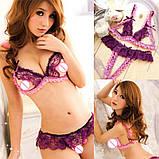 Сексуальний комплект білизни фіолетовий з рожевим, фото 8
