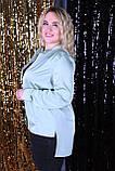 Рубашка женская батал молоко, хаки, фисташка, сирень 48-50, 52-54, 56-58, 60-62, фото 5