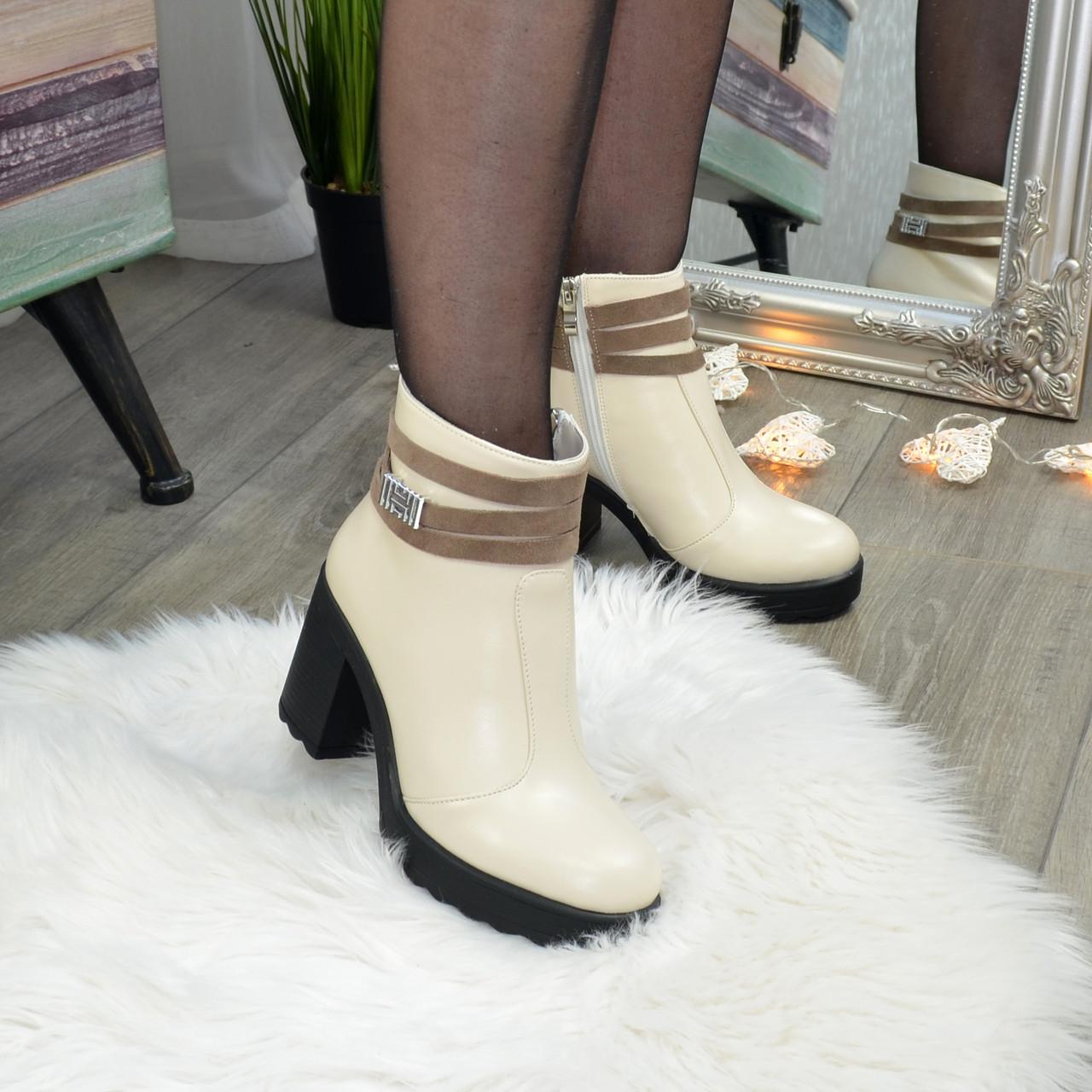 Ботинки женские кожаные на устойчивом каблуке. Цвет бежевый